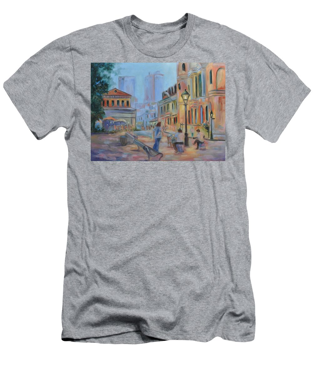 New Orleans Men's T-Shirt (Athletic Fit) featuring the painting Jackson Square Musicians by Ginger Concepcion
