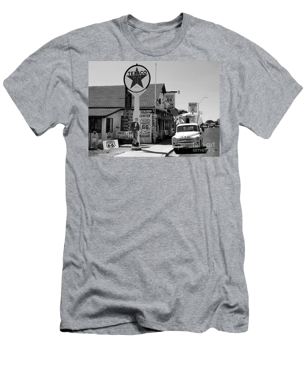 James Dean Men's T-Shirt (Athletic Fit) featuring the photograph James Dean On Route 66 by David Lee Thompson