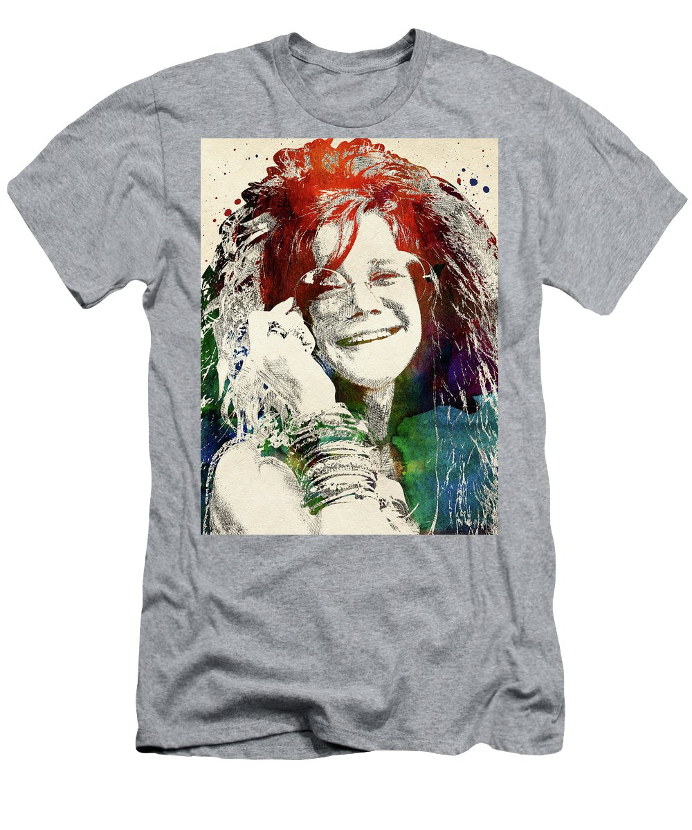 Janis Joplin Men's T-Shirt (Athletic Fit) featuring the digital art Janis Joplin Portrait by Mihaela Pater