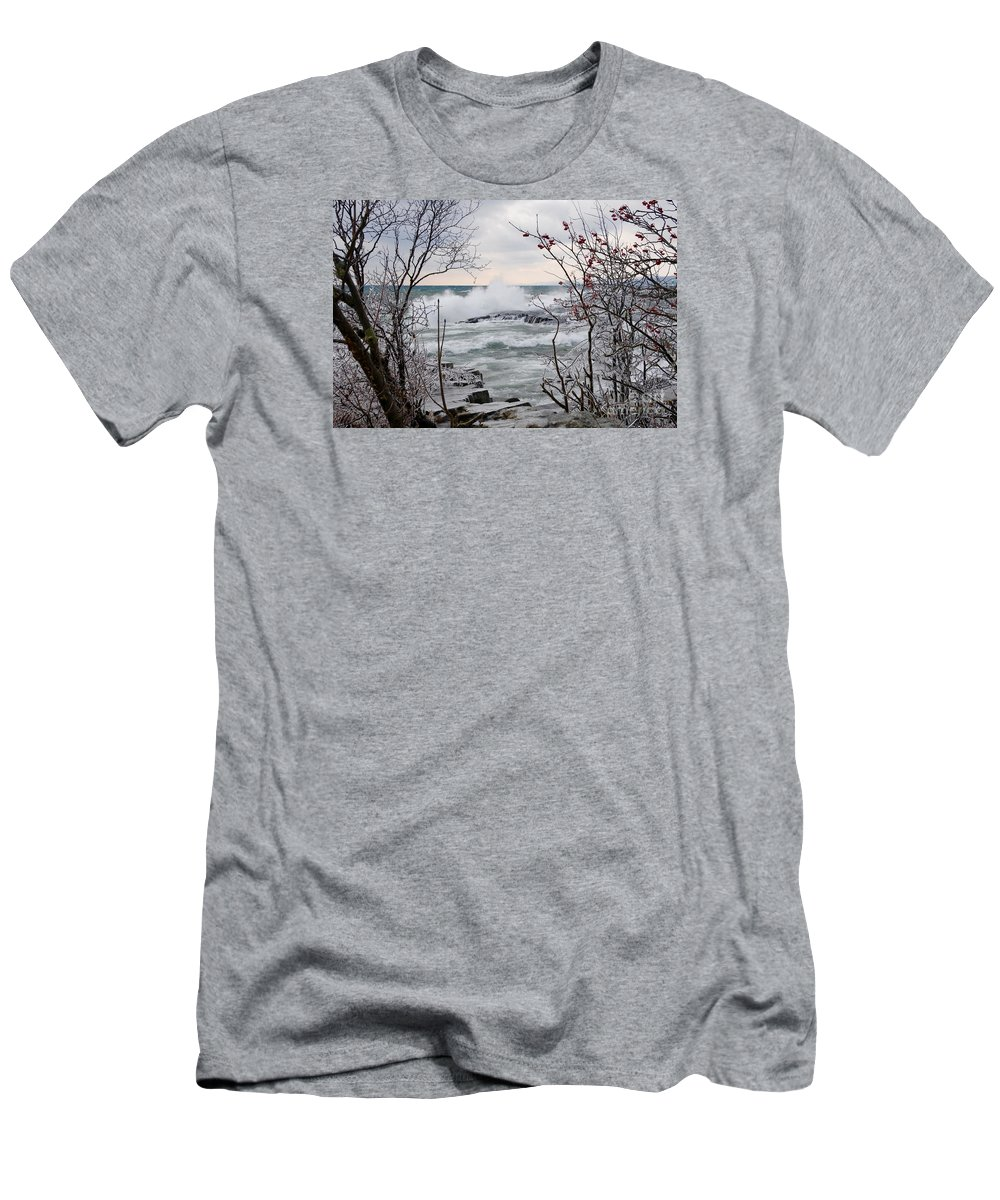 Waves Men's T-Shirt (Athletic Fit) featuring the photograph January Winds And Waves by Sandra Updyke