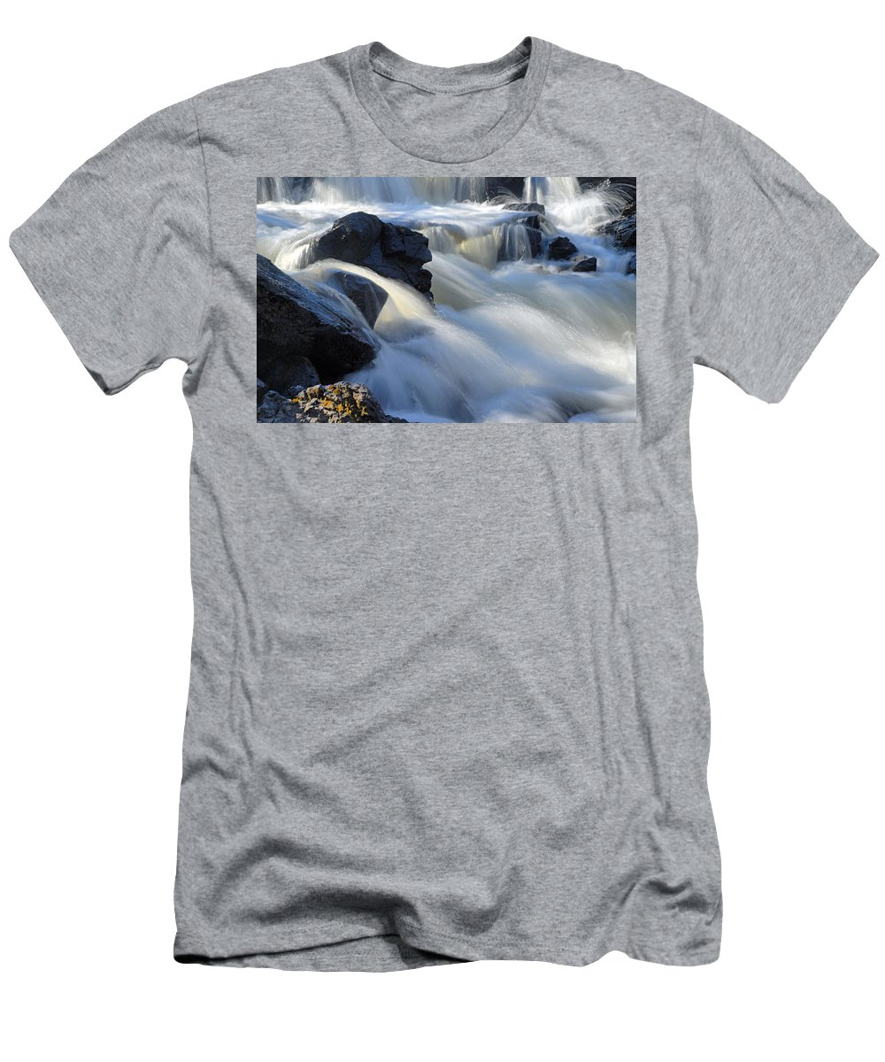 Boundary Waters Canoe Area Wilderness Men's T-Shirt (Athletic Fit) featuring the photograph Jasper Falls Closeup by Larry Ricker