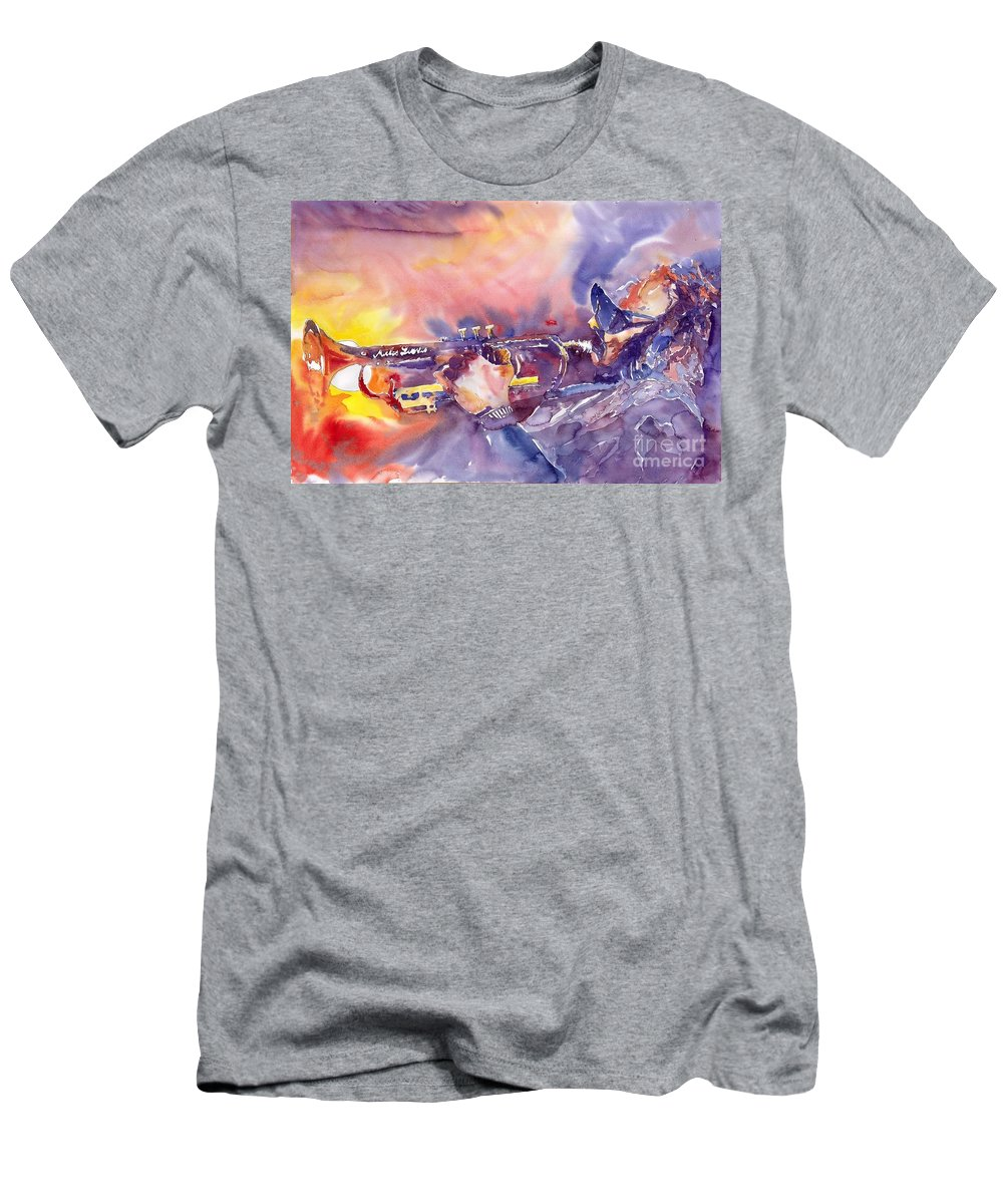 Jazz Watercolor Miles Davis Music Musician Trumpeter Figurative Watercolour Men's T-Shirt (Athletic Fit) featuring the painting Jazz Miles Davis Electric 1 by Yuriy Shevchuk