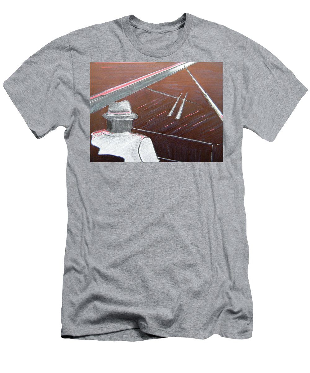 Jazz Men's T-Shirt (Athletic Fit) featuring the painting Jazz Pianist At The Brigantine Room by Marwan George Khoury