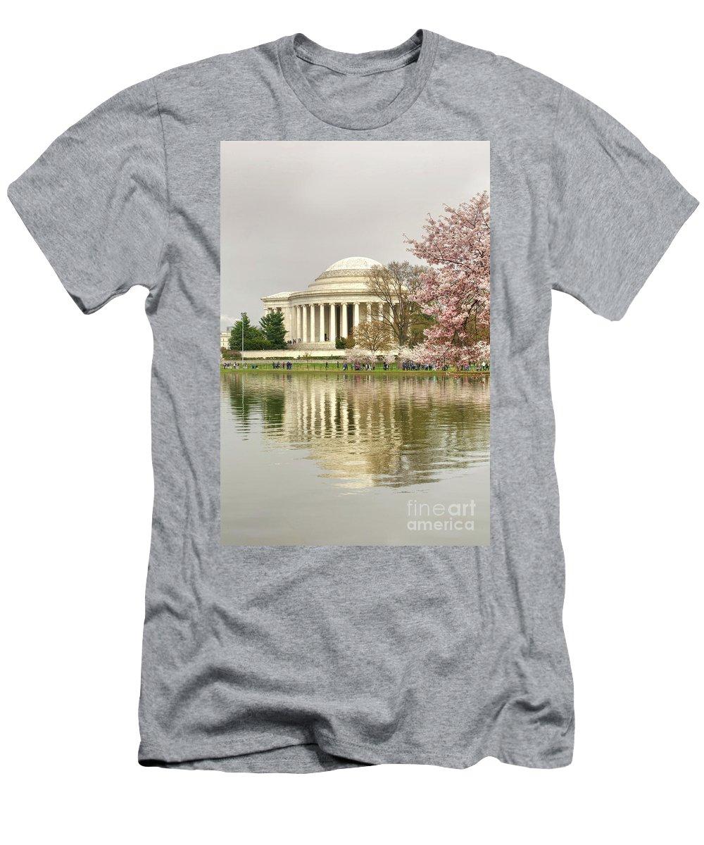 Washington Dc Men's T-Shirt (Athletic Fit) featuring the photograph Jefferson Memorial Reflection I by Karen Jorstad