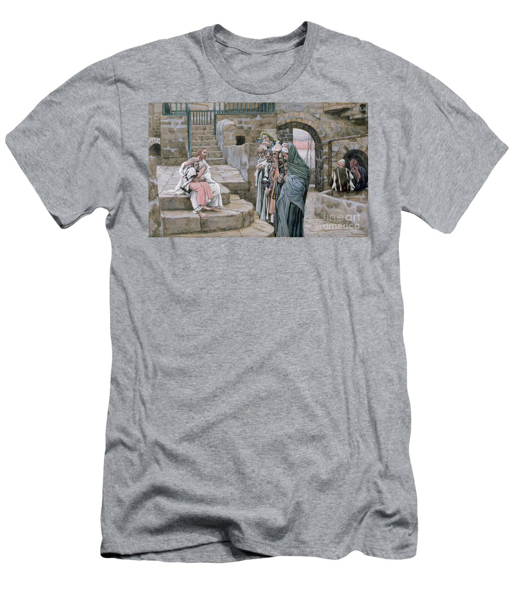 Christian Men's T-Shirt (Athletic Fit) featuring the painting Jesus And The Little Child by Tissot