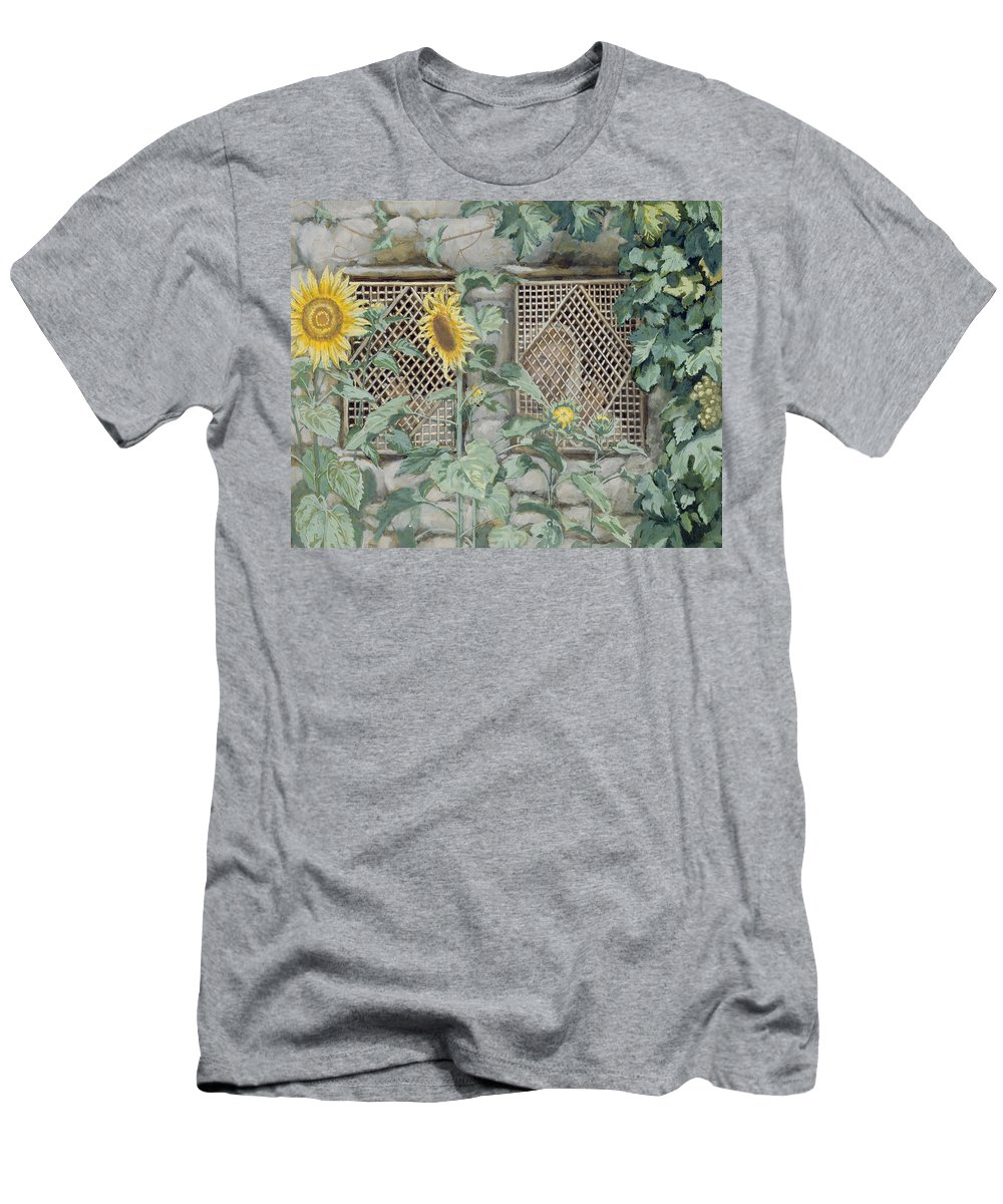 Jesus Looking Through A Lattice With Sunflowers Men's T-Shirt (Athletic Fit) featuring the painting Jesus Looking Through A Lattice With Sunflowers by Tissot