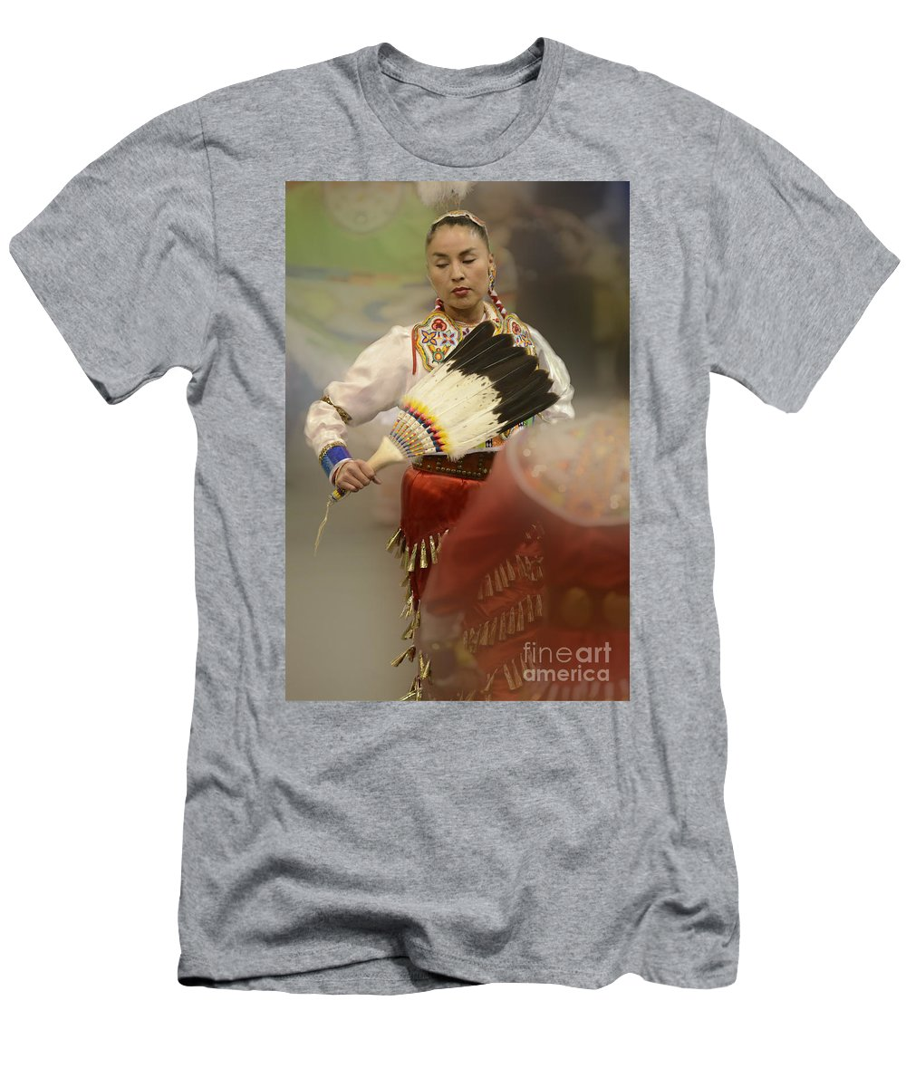 Pow Wow Men's T-Shirt (Athletic Fit) featuring the photograph Pow Wow Jingle Dancer 1 by Bob Christopher