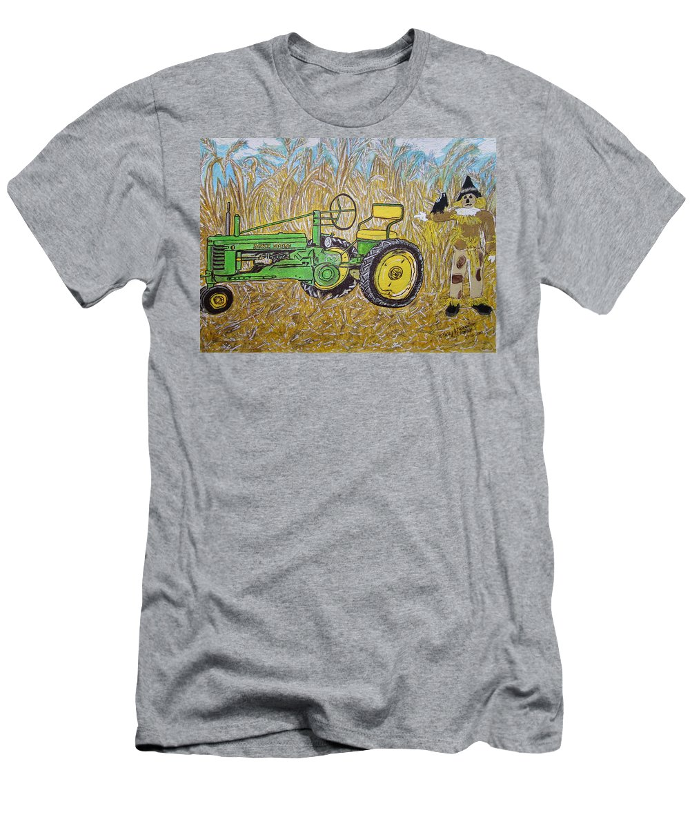 John Deere Men's T-Shirt (Athletic Fit) featuring the painting John Deere Tractor And The Scarecrow by Kathy Marrs Chandler