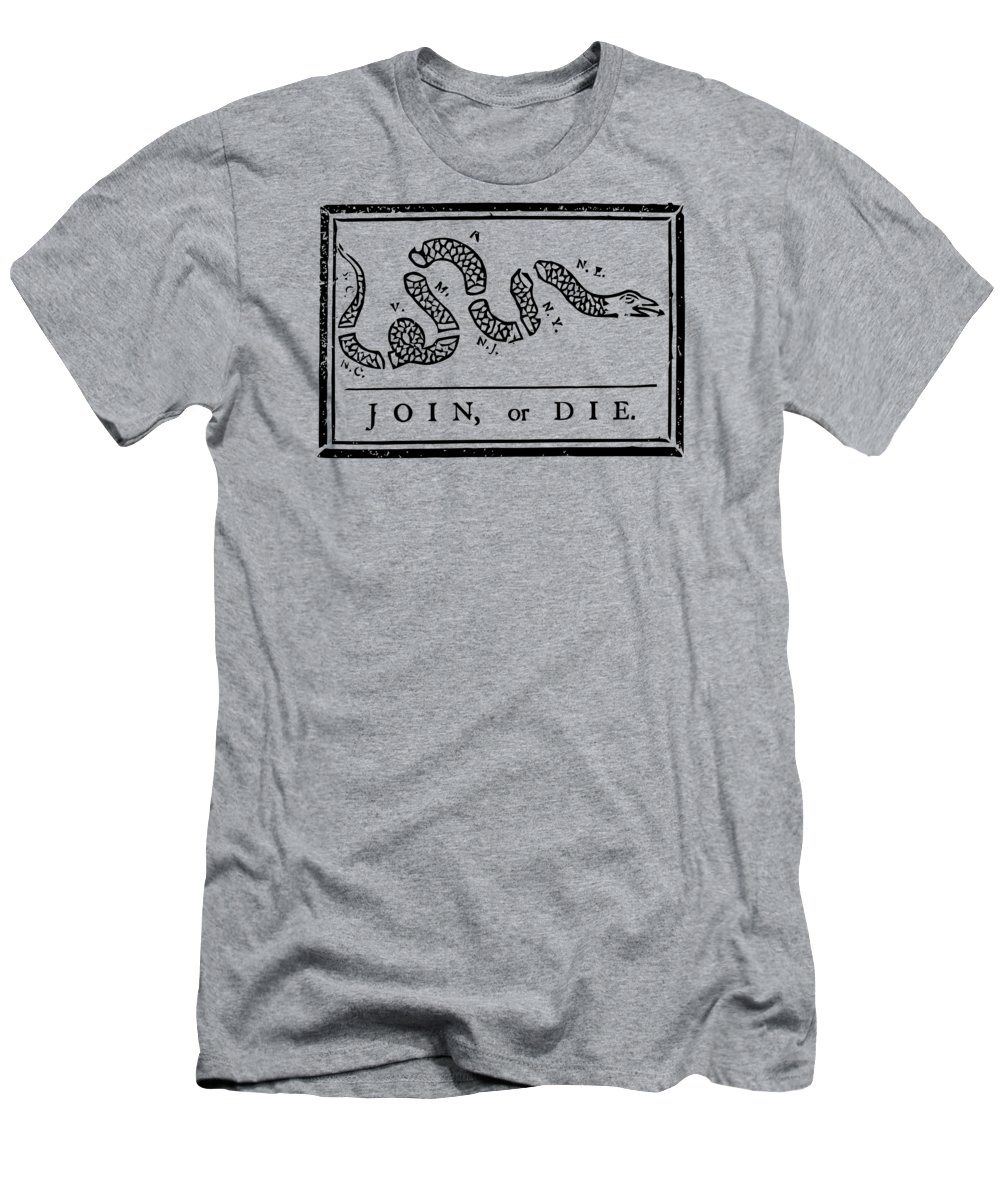 Join Or Die T-Shirt featuring the mixed media Join or Die by War Is Hell Store