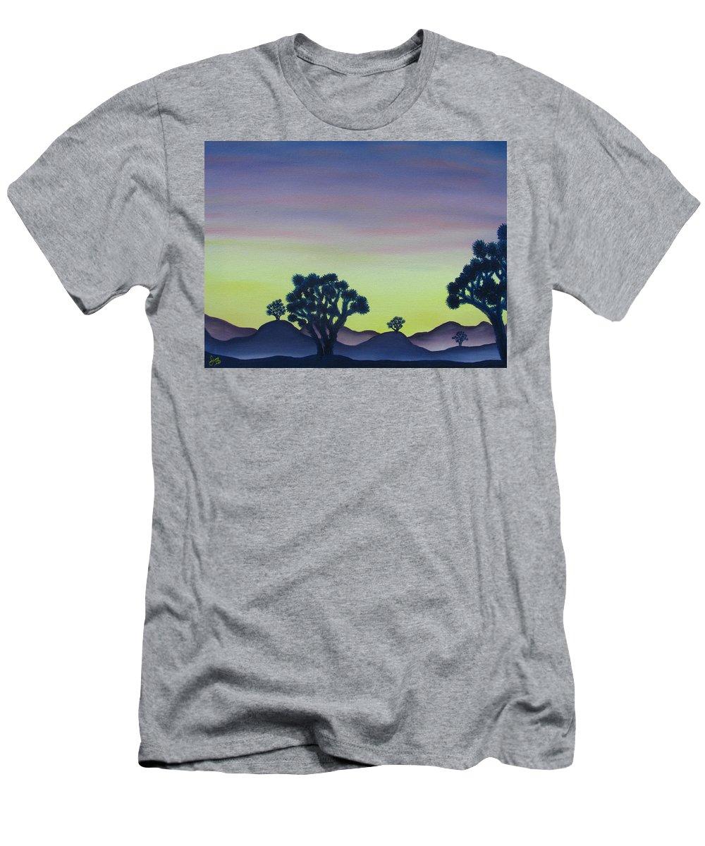 Joshua Tree Desert Landscape Canvas Prints California Desert Sunset Canvas Prints Desert Oil Painting Prints Men's T-Shirt (Athletic Fit) featuring the painting Joshua Tree Sunset by Joshua Bales