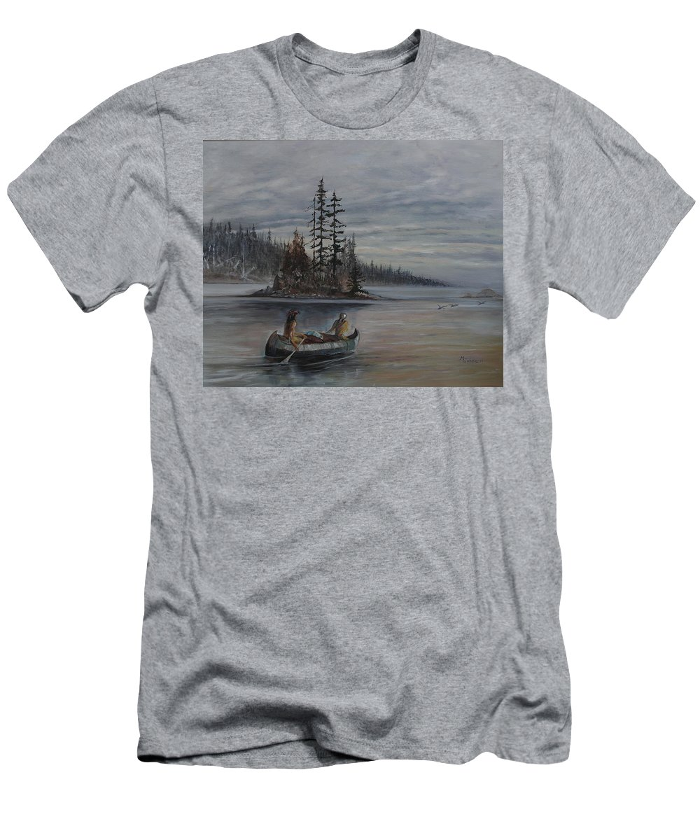 First Nation Men's T-Shirt (Athletic Fit) featuring the painting Journey - Lmj by Ruth Kamenev