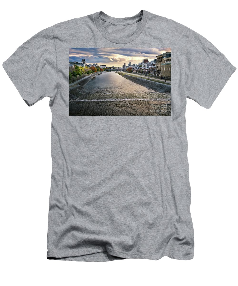 Kamo Men's T-Shirt (Athletic Fit) featuring the photograph Kamo River Kamo-gawa In A Beautiful Sunset Autumn Scenery In Kyo by Awen Fine Art Prints