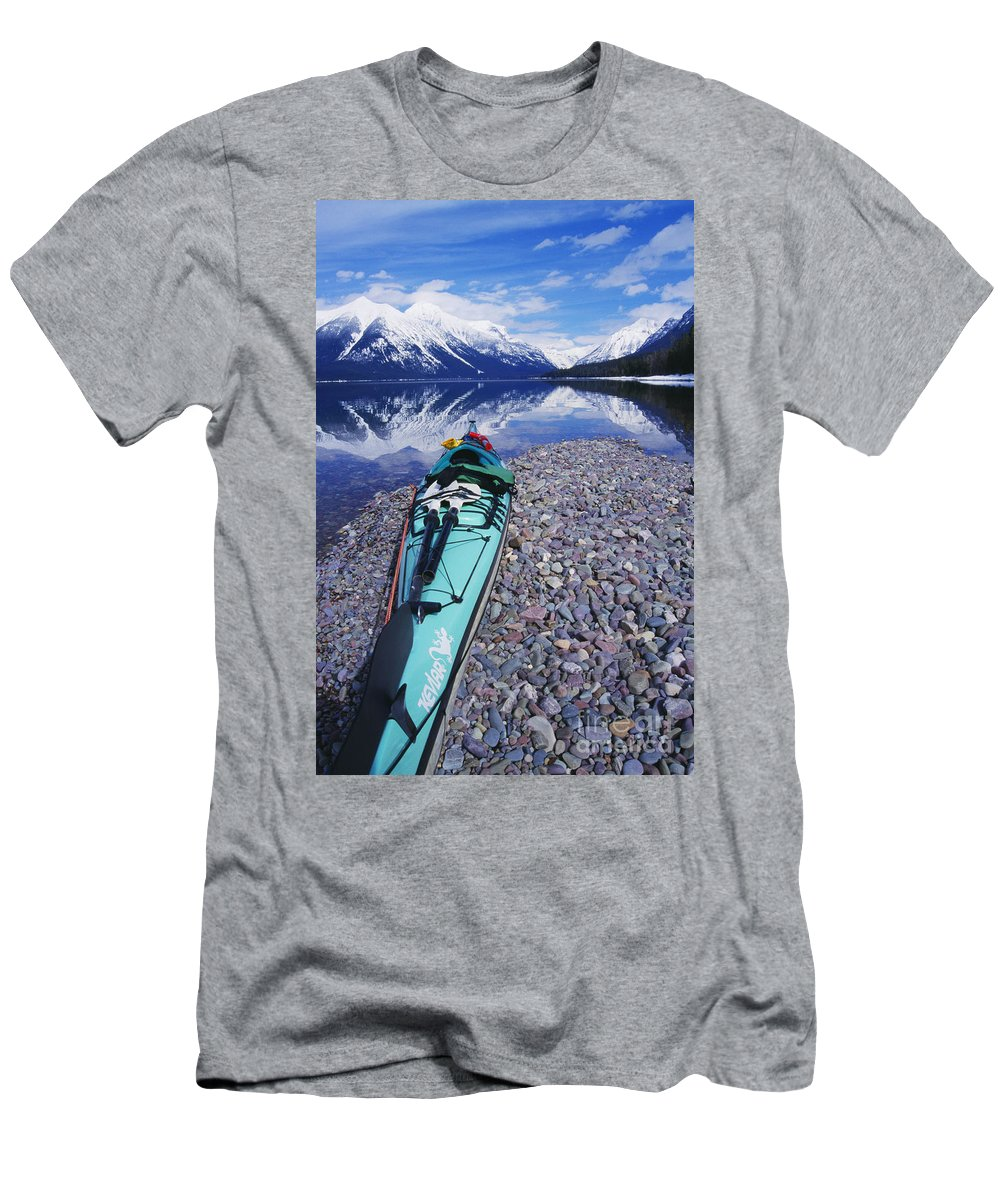 Adventure Men's T-Shirt (Athletic Fit) featuring the photograph Kayak Ashore by Bill Brennan - Printscapes