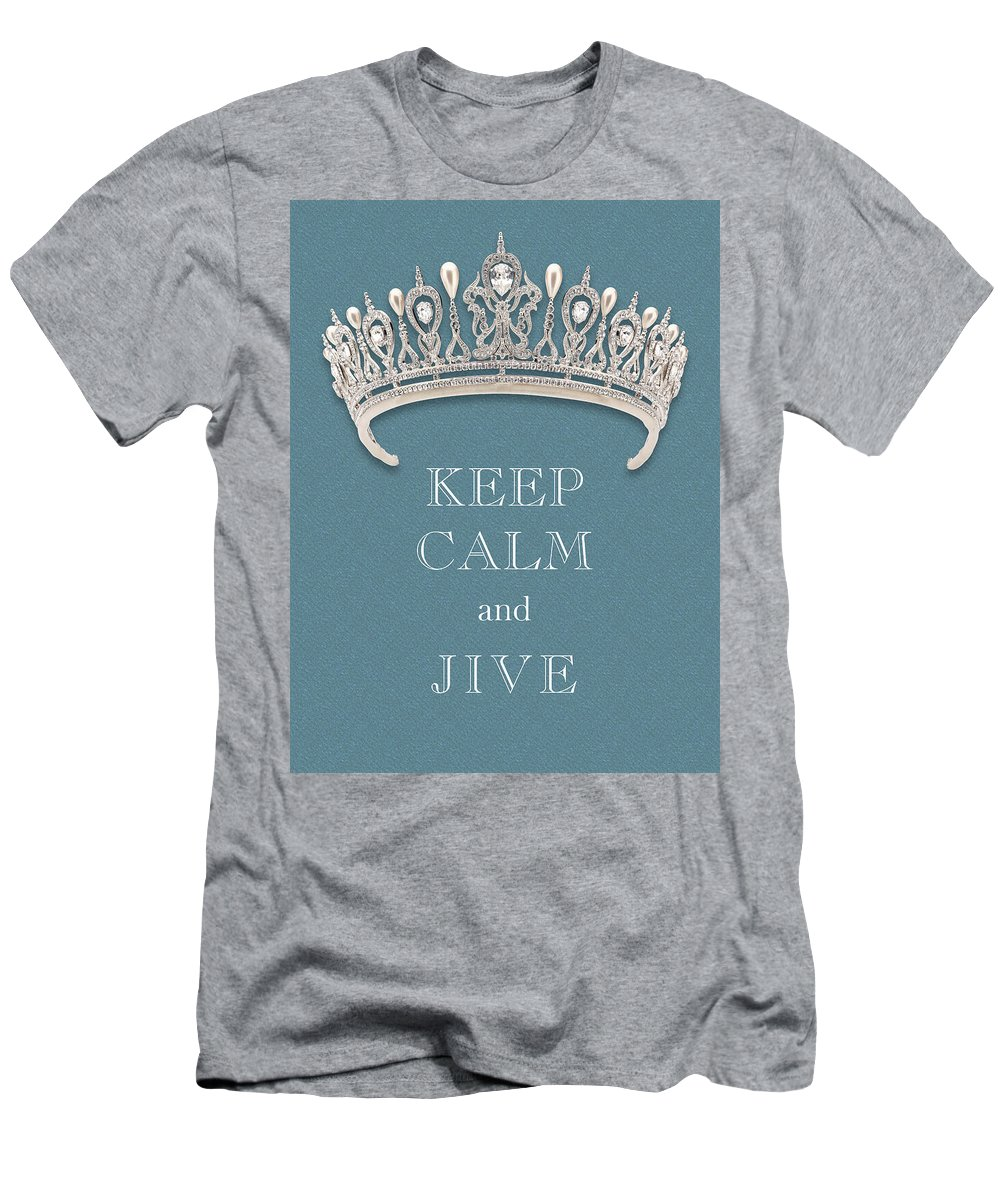 Keep Calm And Jive Men's T-Shirt (Athletic Fit) featuring the photograph Keep Calm And Jive Diamond Tiara Turquoise Texture by Kathy Anselmo