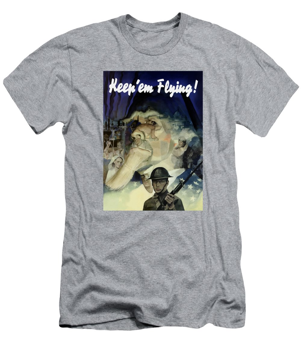 Army T-Shirt featuring the painting Keep 'em Flying - Uncle Sam by War Is Hell Store
