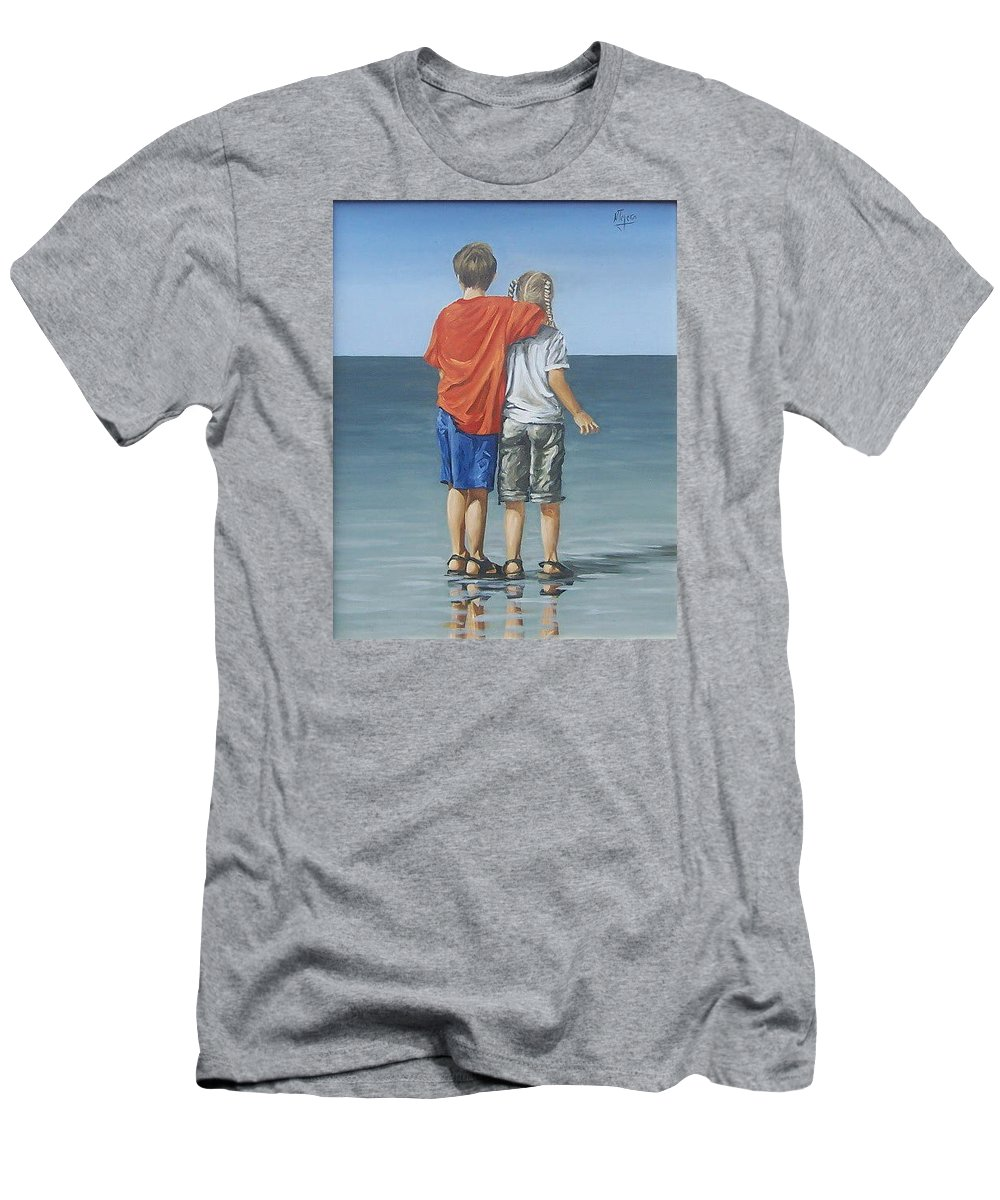 Kids Men's T-Shirt (Athletic Fit) featuring the painting Kids by Natalia Tejera