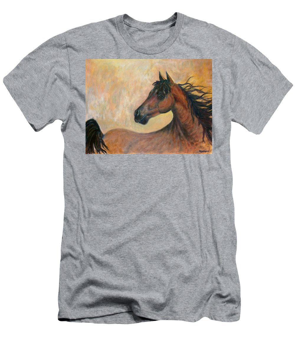 Horse Men's T-Shirt (Athletic Fit) featuring the painting Kiger Mustang by Ben Kiger