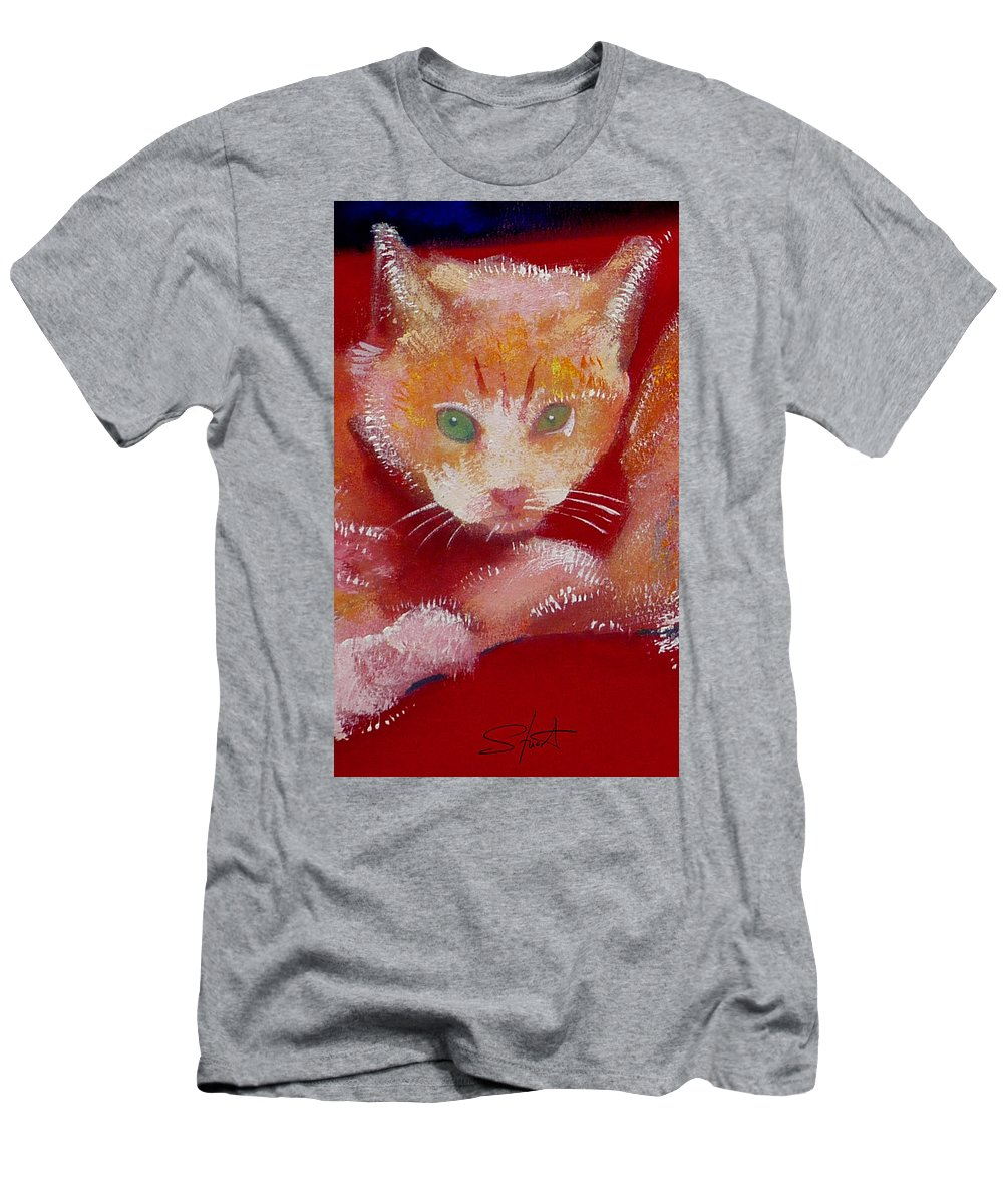 Kittens Men's T-Shirt (Athletic Fit) featuring the painting Kitten by Charles Stuart