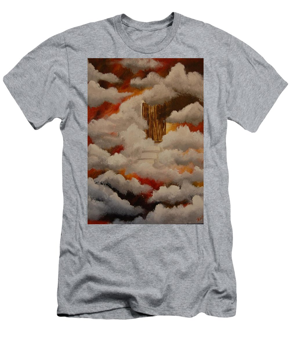 Acrylic Artwork Men's T-Shirt (Athletic Fit) featuring the painting Knock And The Door Will Open by Laurie Kidd