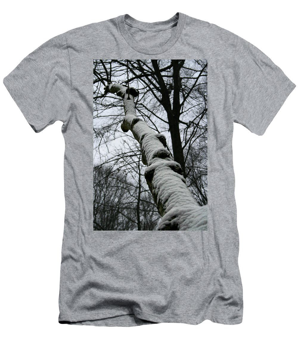 Nature Winter Snow White Cold Quite Peaceful Forest Woods Tree Cover Grey Knot Outdoor Men's T-Shirt (Athletic Fit) featuring the photograph Knoted by Andrei Shliakhau