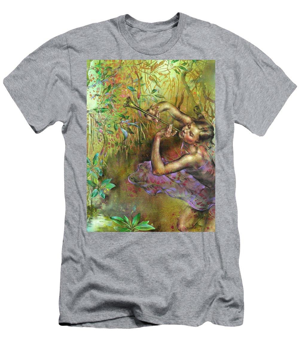 Light Through The Mangroves Men's T-Shirt (Athletic Fit) featuring the painting Komorebi by Viktorija Bulava