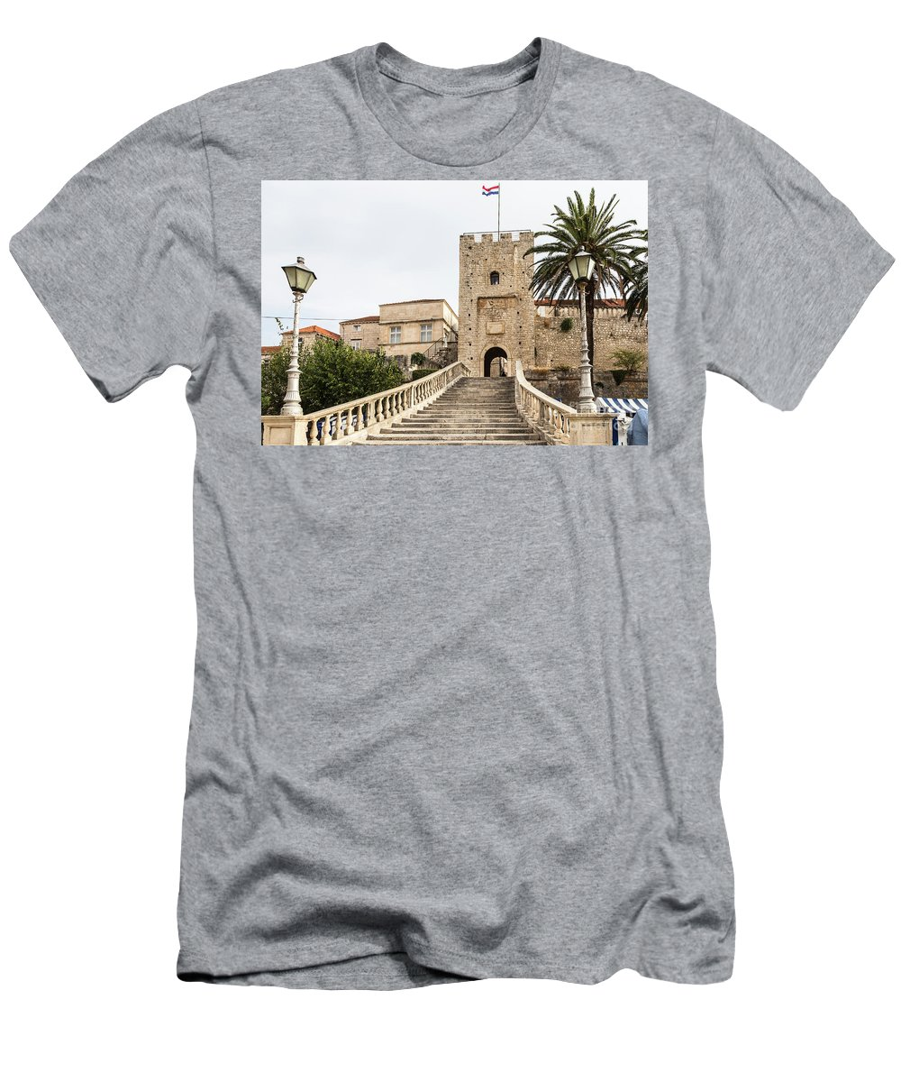Ancient Men's T-Shirt (Athletic Fit) featuring the photograph Korcula Old Town Stairs by Didier Marti
