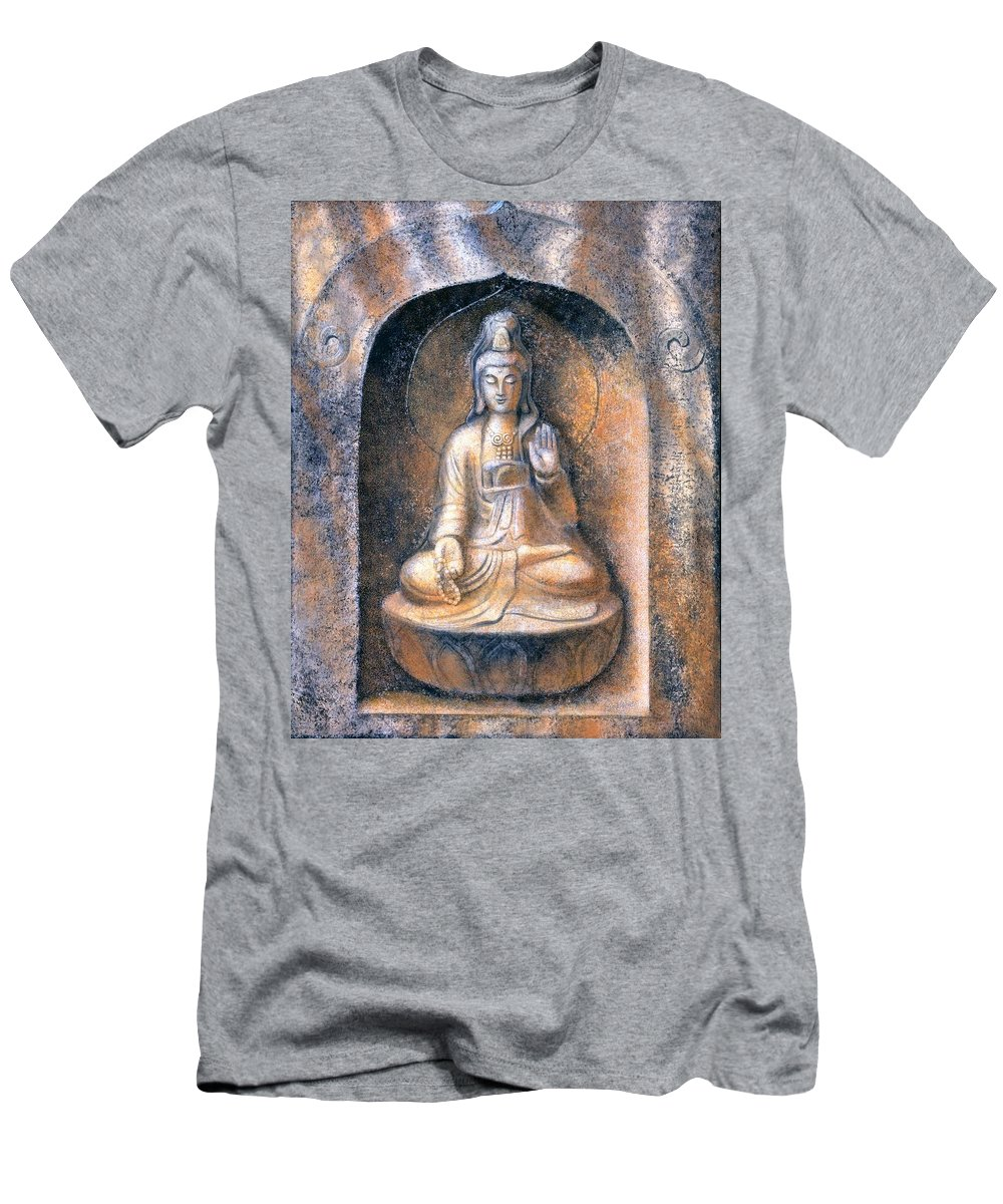 Kwan Yin Men's T-Shirt (Athletic Fit) featuring the painting Kuan Yin Meditating by Sue Halstenberg