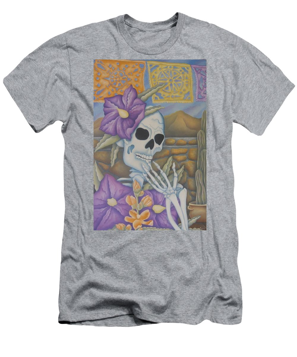 Calavera Men's T-Shirt (Athletic Fit) featuring the painting La Coqueta- The Coquette by Jeniffer Stapher-Thomas