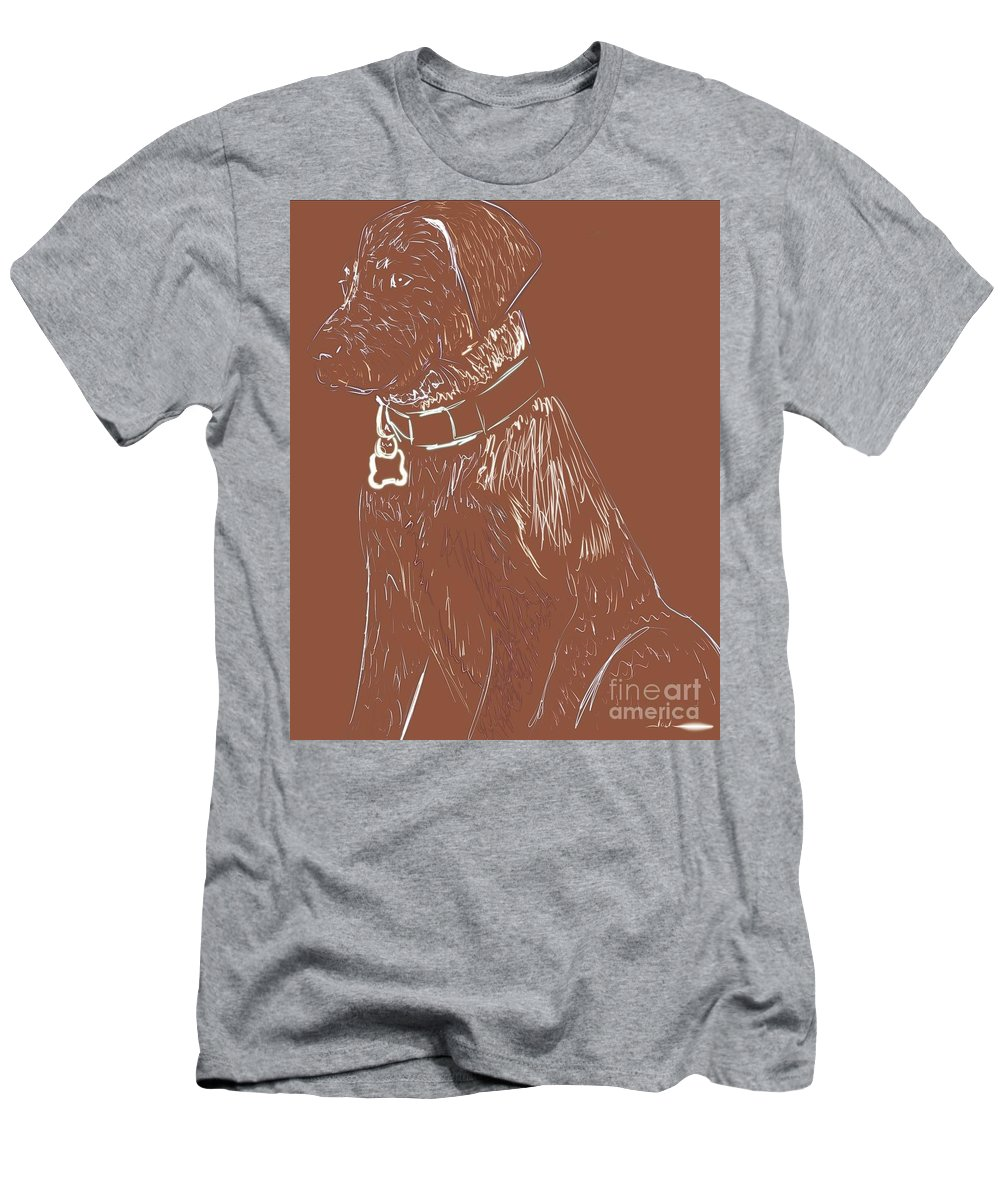Men's T-Shirt (Athletic Fit) featuring the painting Lab Sitting by Jack Bunds
