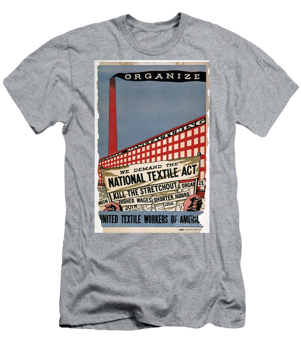 1935 Men's T-Shirt (Athletic Fit) featuring the photograph Labor Poster, 1935 by Granger