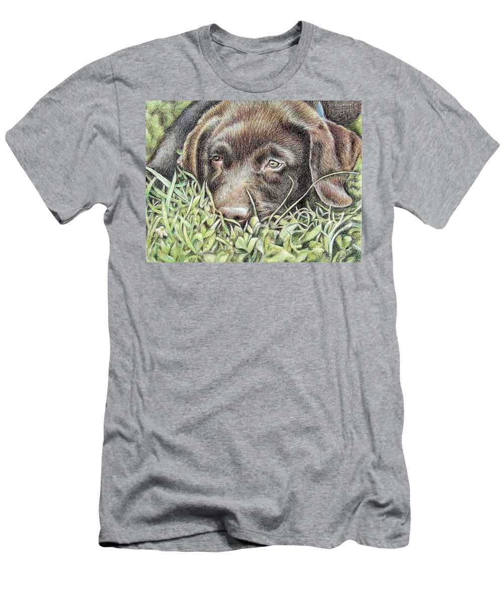 Dog Men's T-Shirt (Athletic Fit) featuring the pastel Labrador Puppy by Nicole Zeug