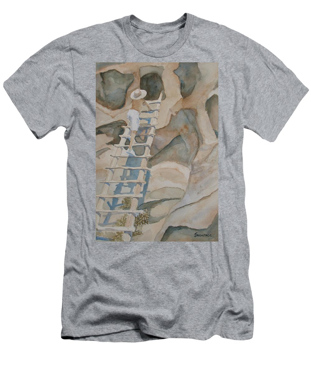 Ruins Men's T-Shirt (Athletic Fit) featuring the painting Ladder To The Past by Jenny Armitage