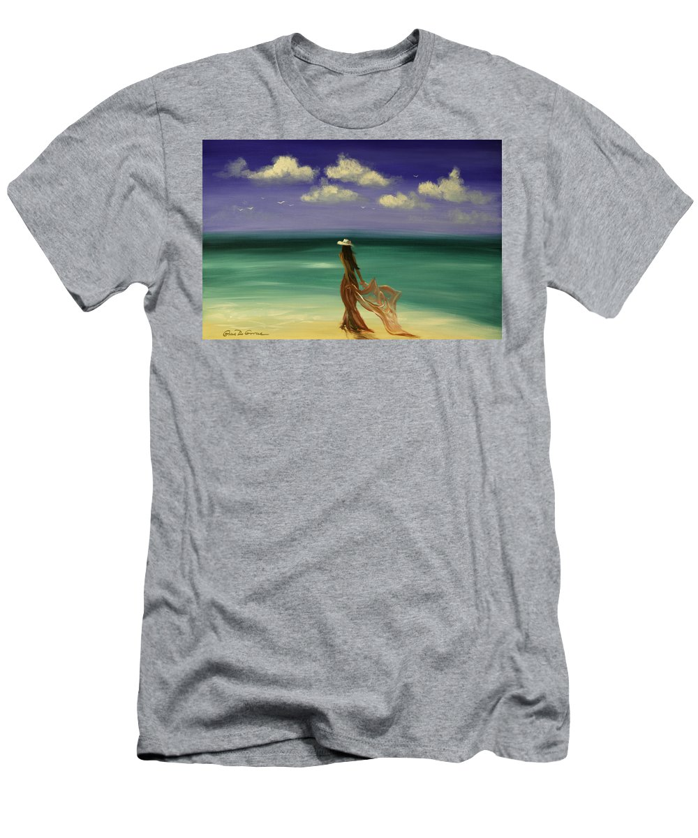 Nice Men's T-Shirt (Athletic Fit) featuring the painting Lady In Red by Gina De Gorna