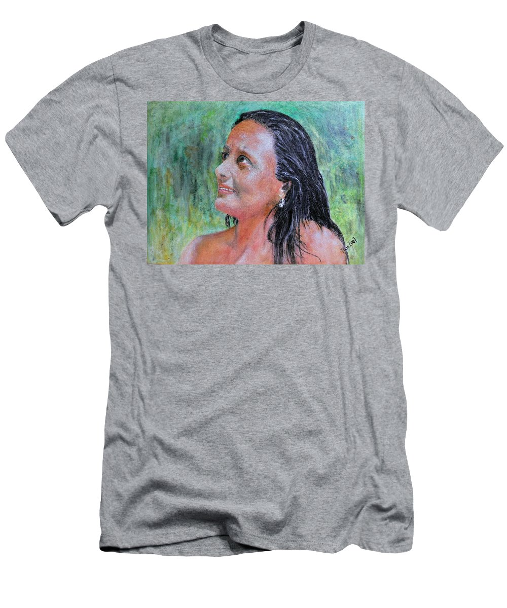 Lady Men's T-Shirt (Athletic Fit) featuring the painting Lady Of India by Helmut Rottler