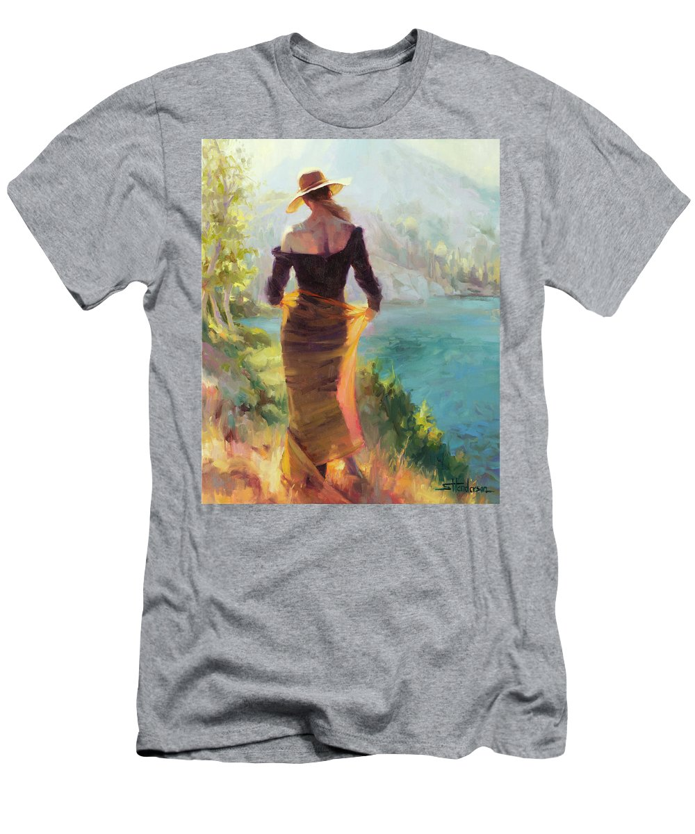 Woman T-Shirt featuring the painting Lady of the Lake by Steve Henderson