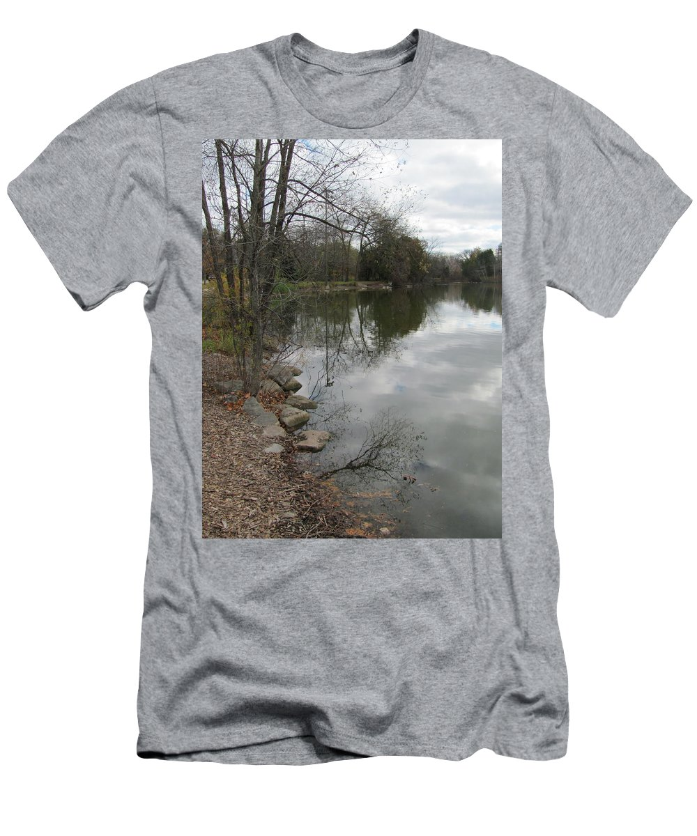 Lagoon Men's T-Shirt (Athletic Fit) featuring the photograph Lagoon Reflections 3 by Anita Burgermeister