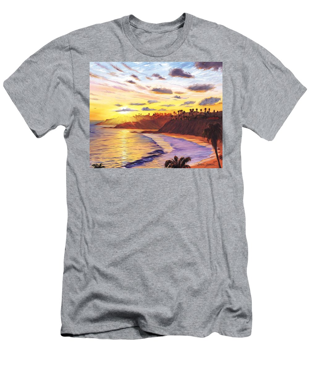 Laguna Beach Men's T-Shirt (Athletic Fit) featuring the painting Laguna Village Sunset by Steve Simon