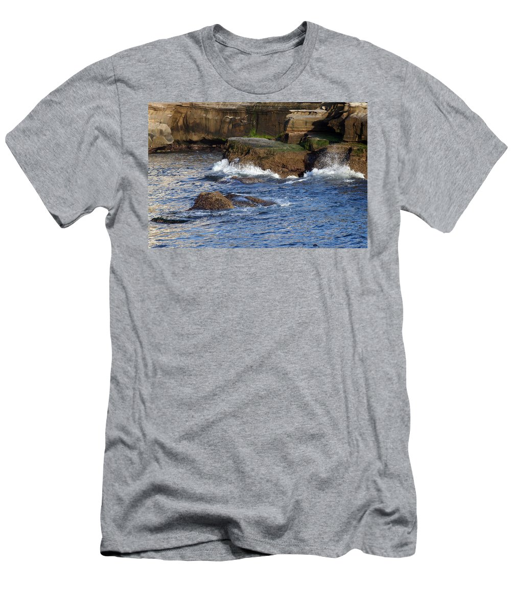 Ocean Men's T-Shirt (Athletic Fit) featuring the photograph Lajolla Rocks by Margie Wildblood