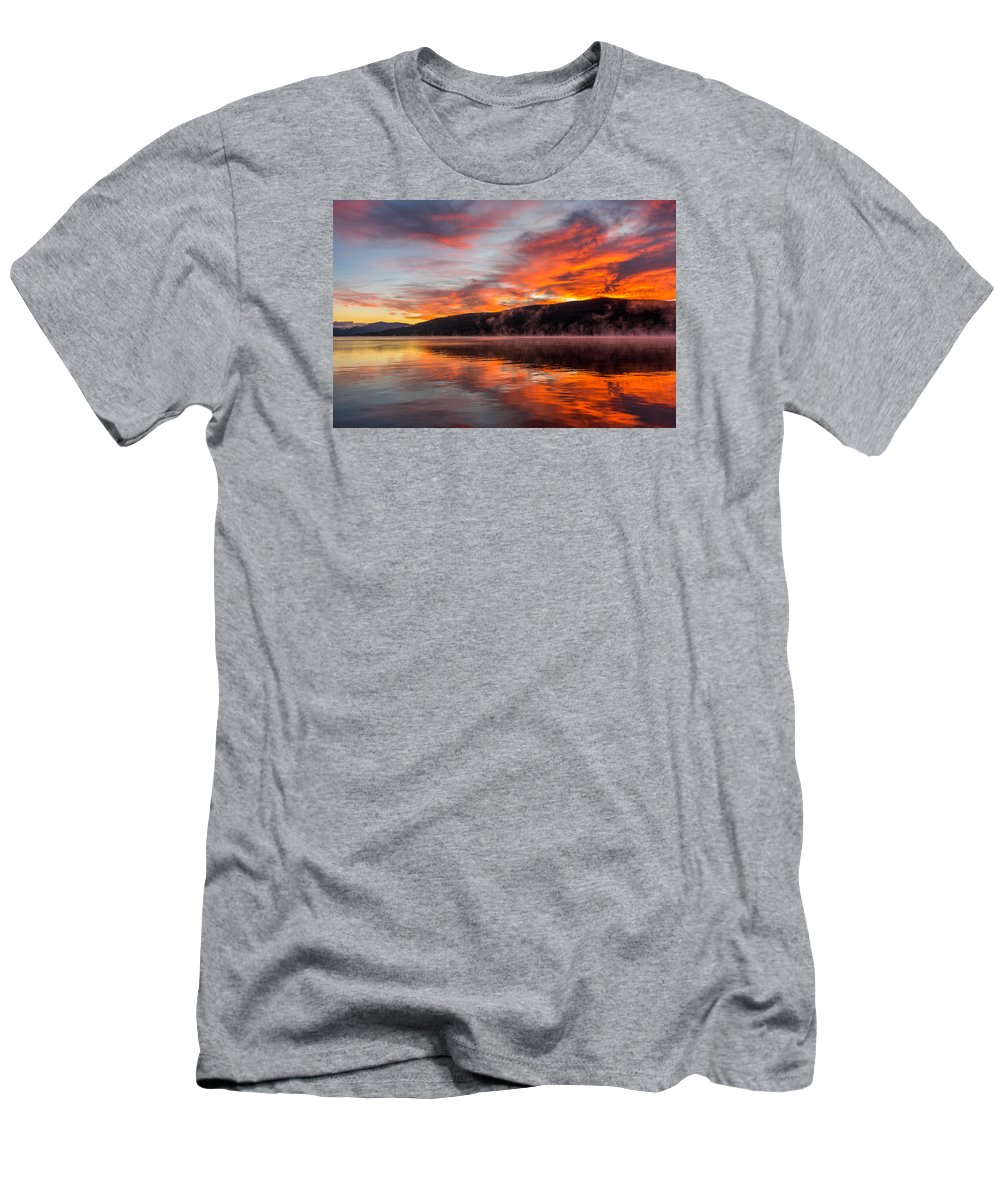 Lake Water Sunrise Landscape Sky Reflection Adirondack Men's T-Shirt (Athletic Fit) featuring the photograph Lake George Sunrise by Michael Stockwell