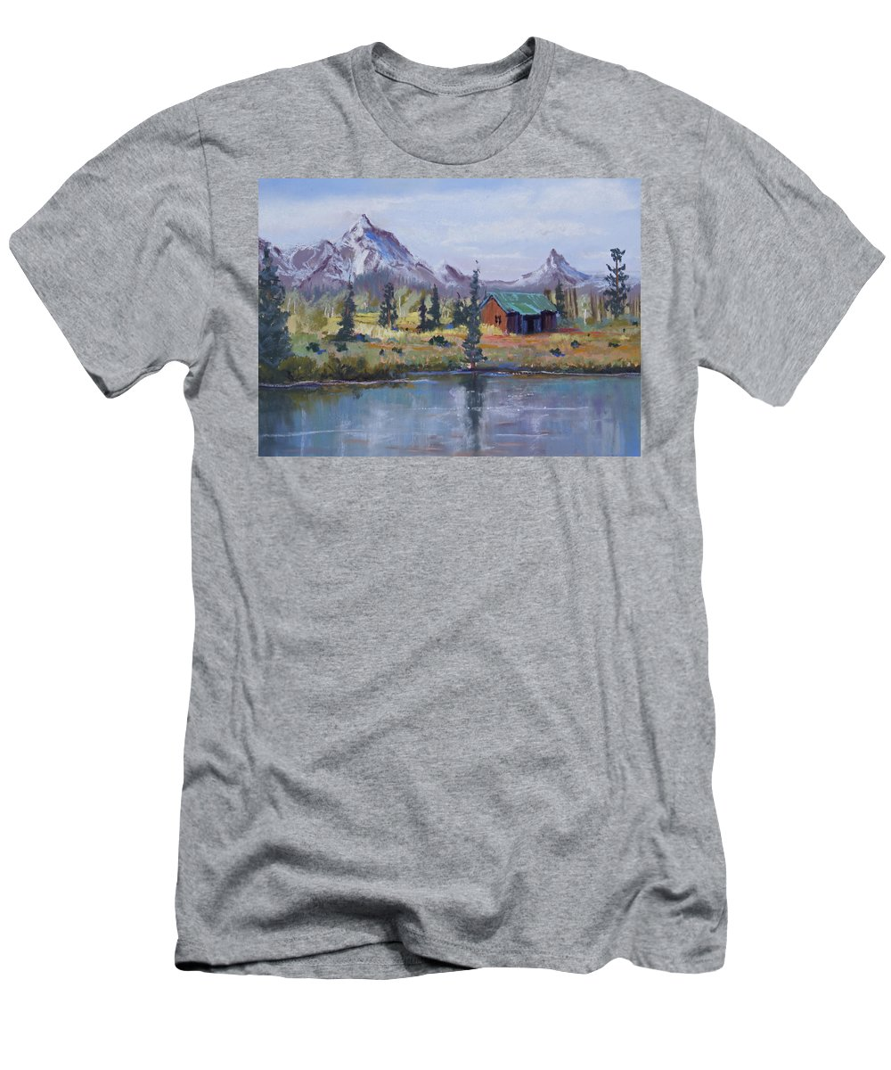Pastel Landscape Men's T-Shirt (Athletic Fit) featuring the painting Lake Jenny Cabin Grand Tetons by Heather Coen
