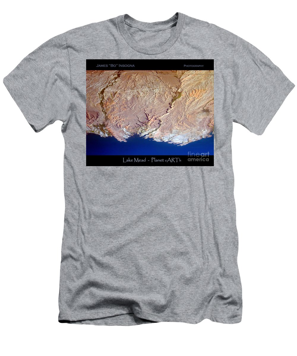 Aerial Men's T-Shirt (Athletic Fit) featuring the photograph Lake Mead - Planet Art by James BO Insogna