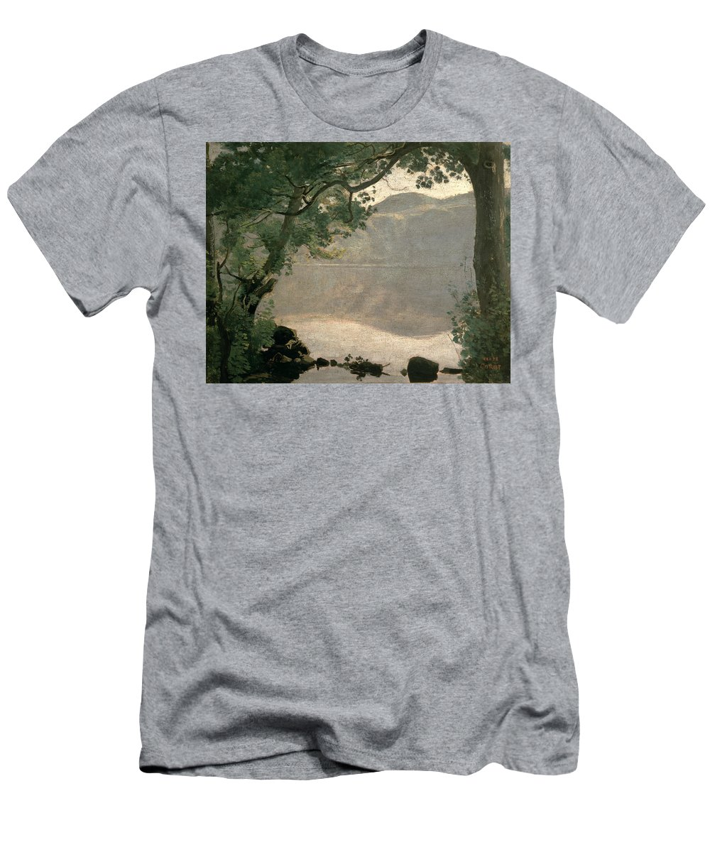 Lake Nemi Men's T-Shirt (Athletic Fit) featuring the painting Lake Nemi by Jean Baptiste Camille Corot