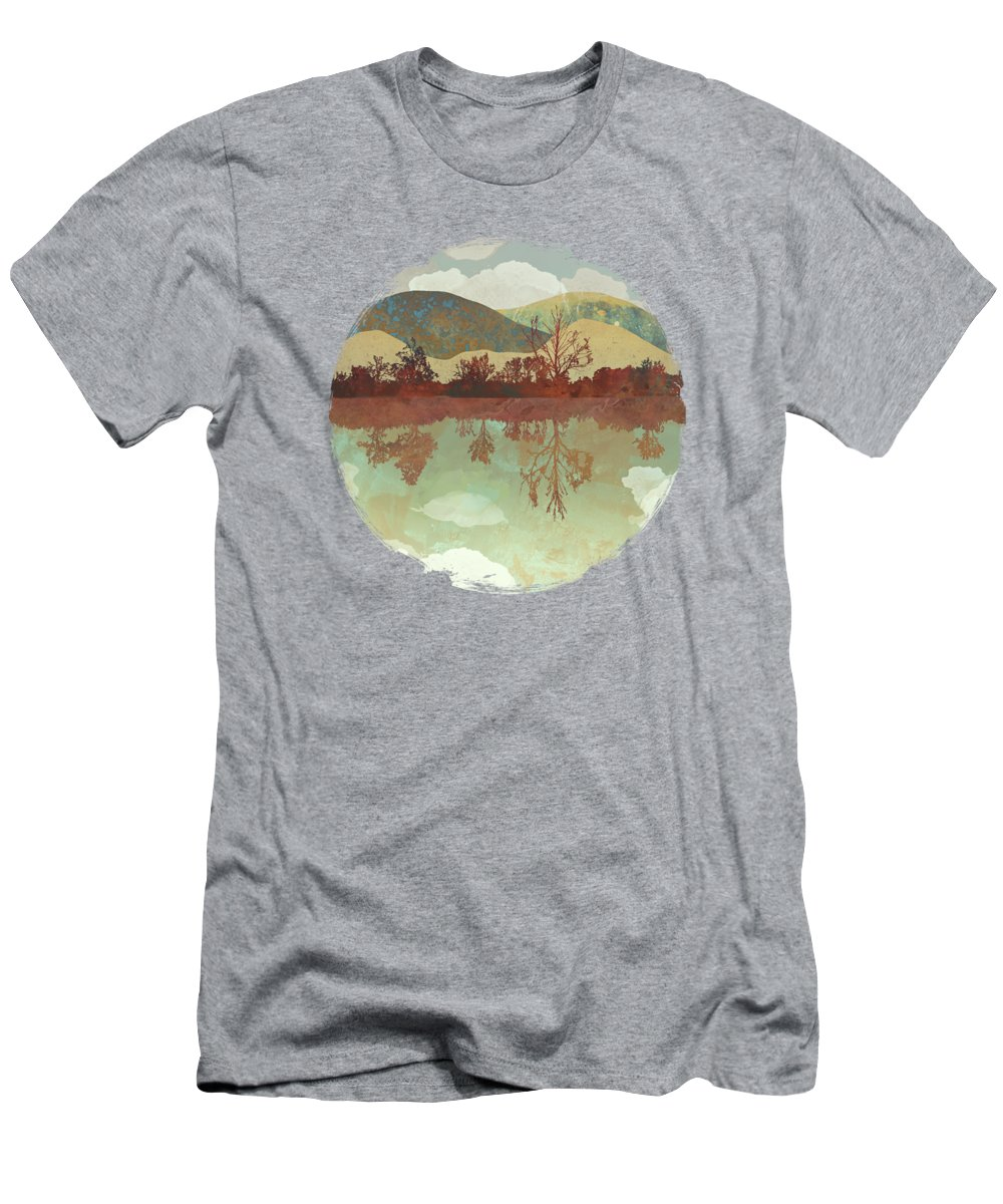 Lake Men's T-Shirt (Athletic Fit) featuring the digital art Lake Side by Spacefrog Designs