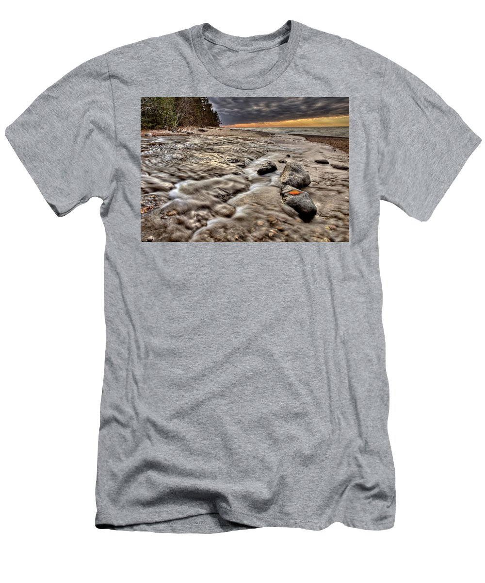 Lake Men's T-Shirt (Athletic Fit) featuring the digital art Lake Superior Northern Michigan by Mark Duffy