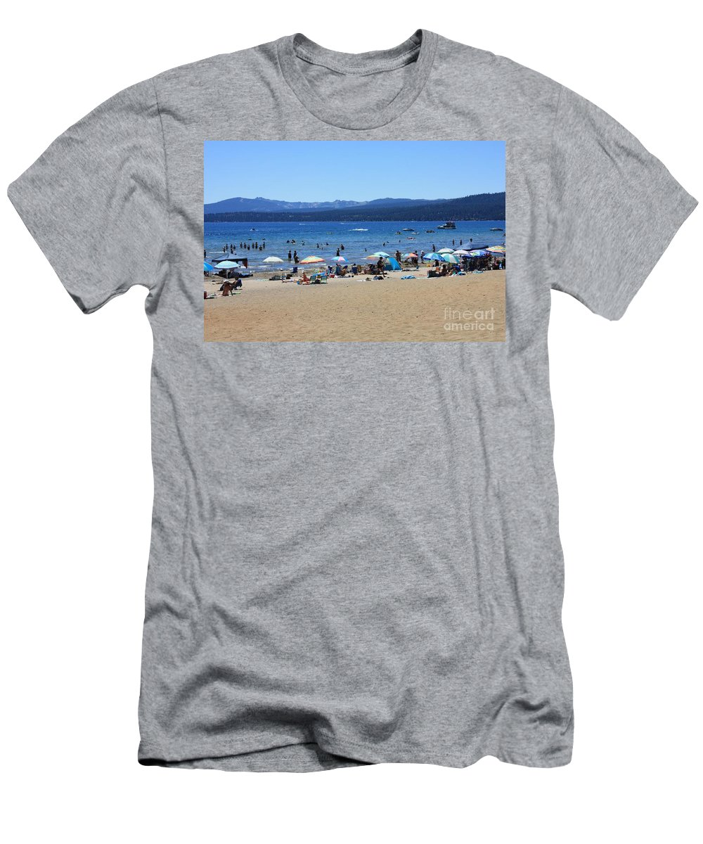 Lake Tahoe Men's T-Shirt (Athletic Fit) featuring the photograph Lake Tahoe Beach Scene by Carol Groenen