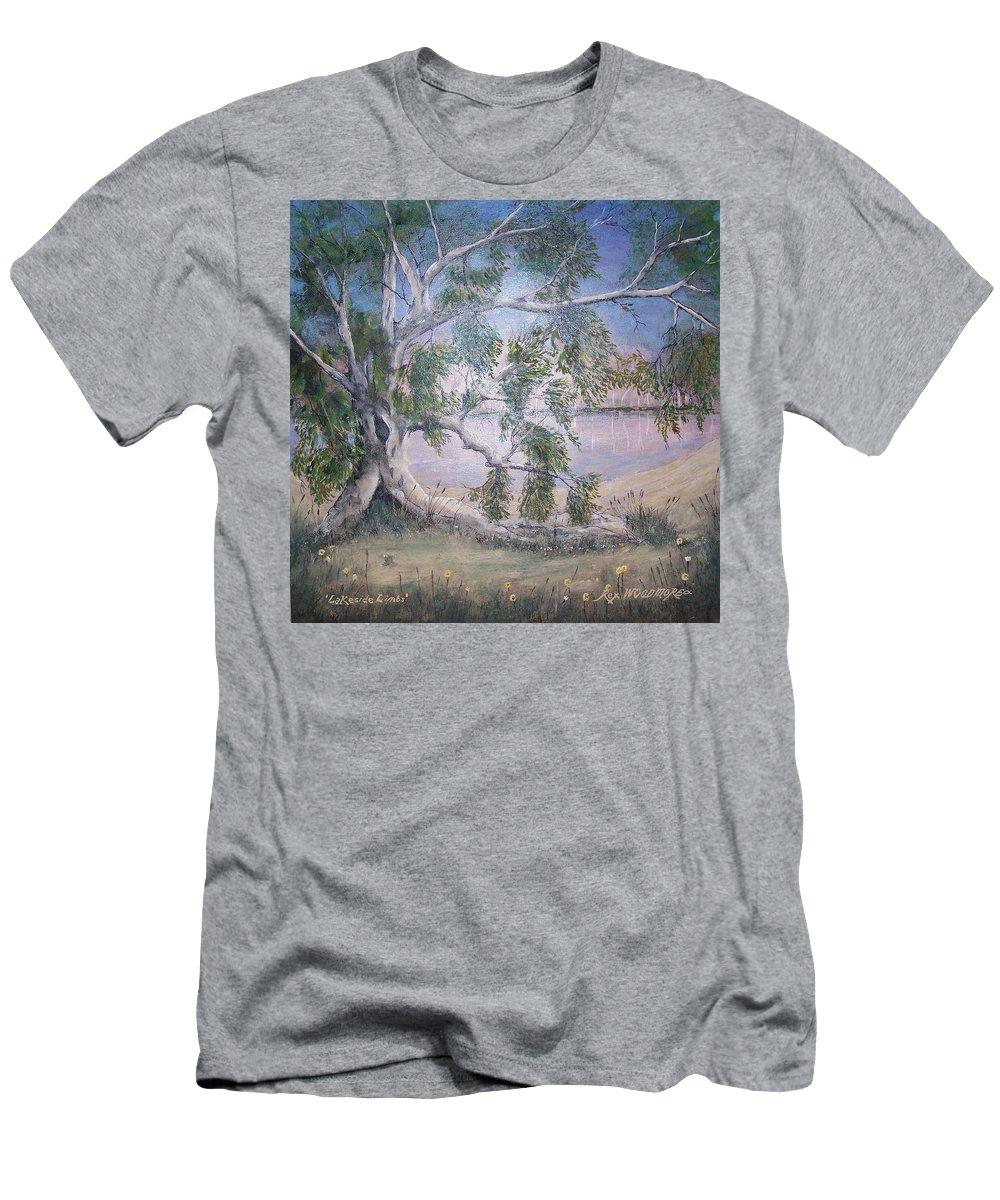 #original Men's T-Shirt (Athletic Fit) featuring the painting Lakeside Limbs by Rex Woodmore