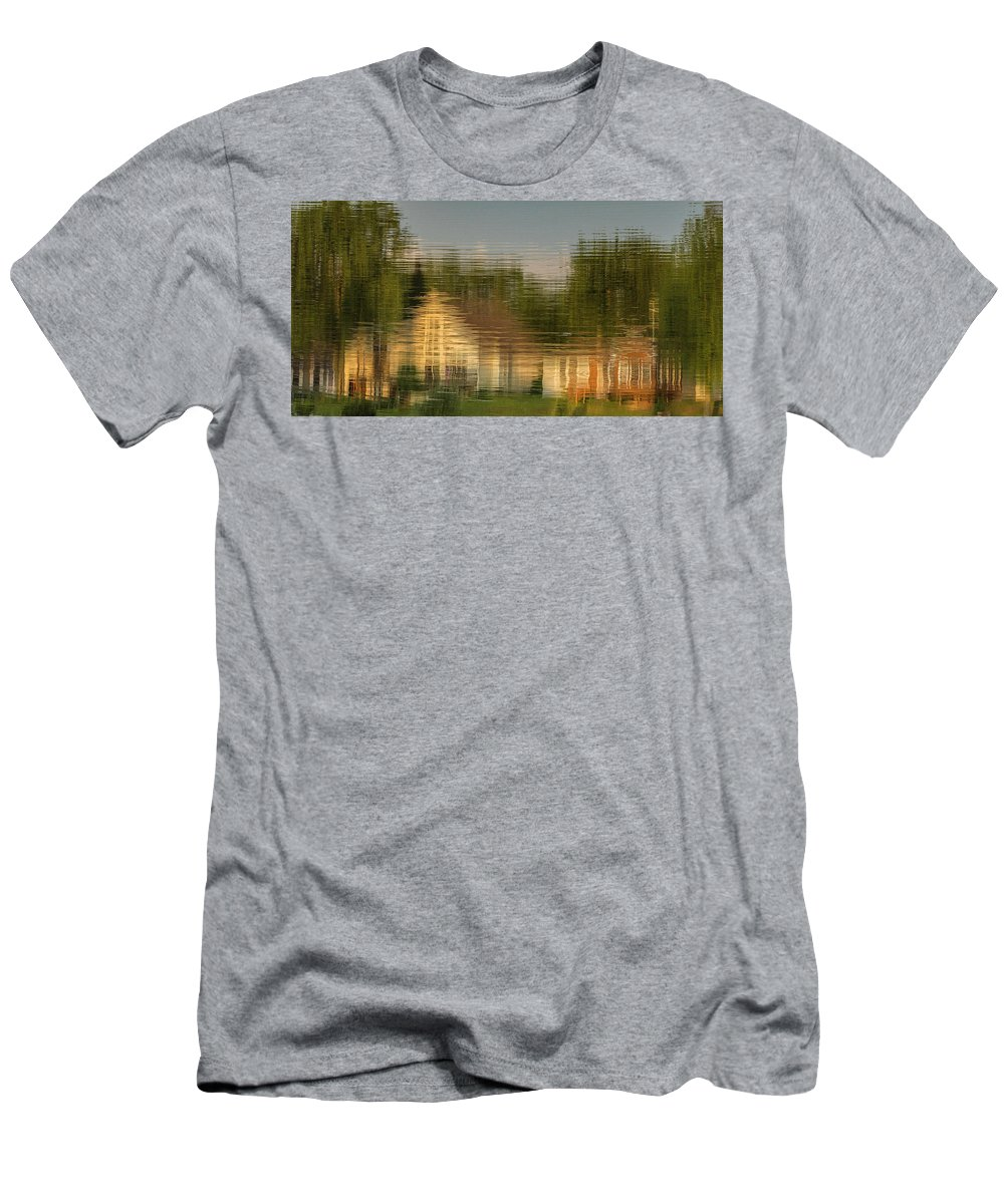 Reflection Men's T-Shirt (Athletic Fit) featuring the photograph Lakeside Living On Wiggins Lake - Abstract by Tom Clark
