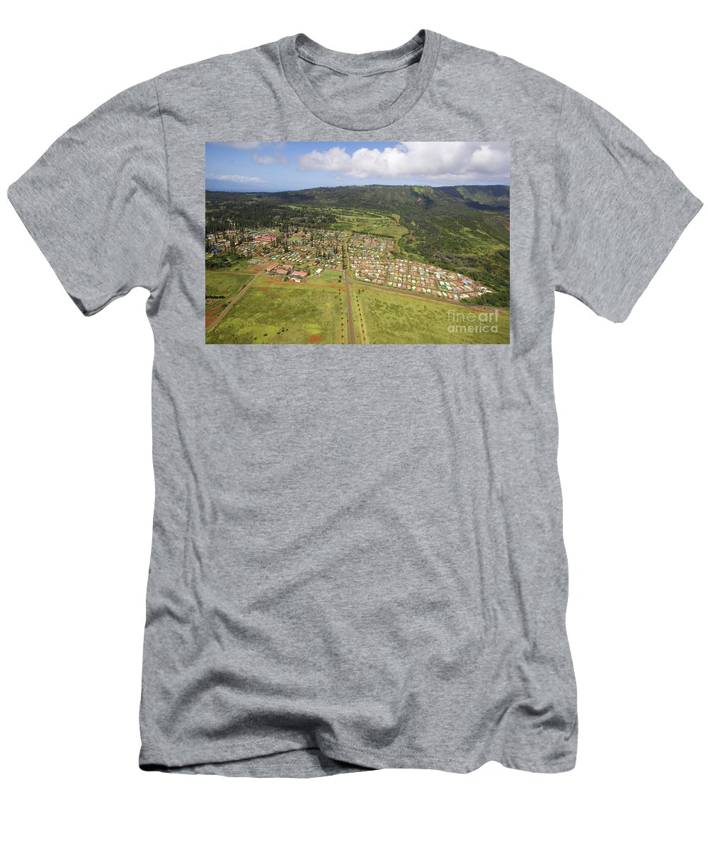 Above Men's T-Shirt (Athletic Fit) featuring the photograph Lanai City Aerial by Ron Dahlquist - Printscapes