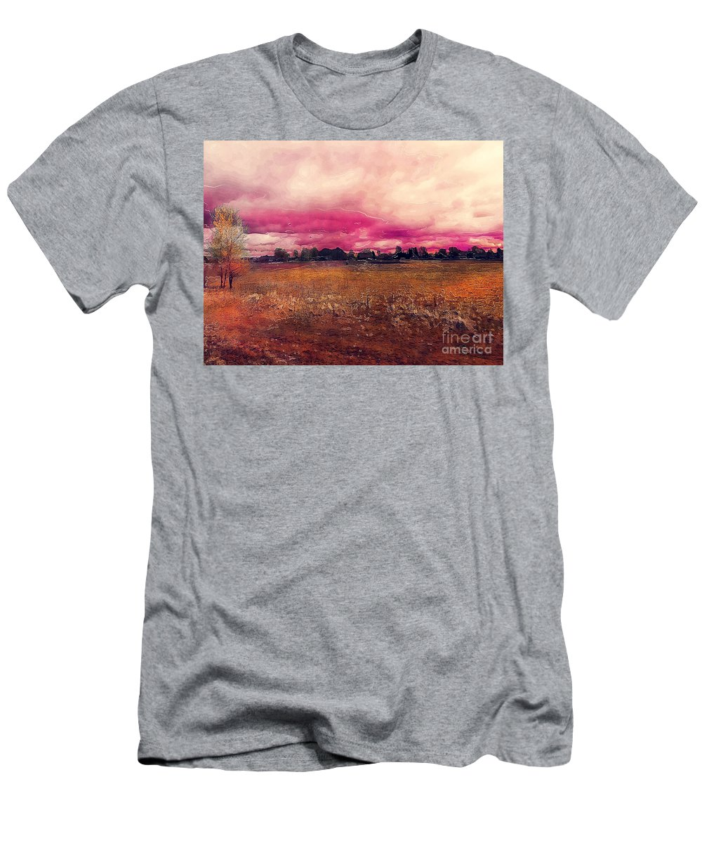 Landscape Men's T-Shirt (Athletic Fit) featuring the painting Landscape 1 Riga by Justyna JBJart