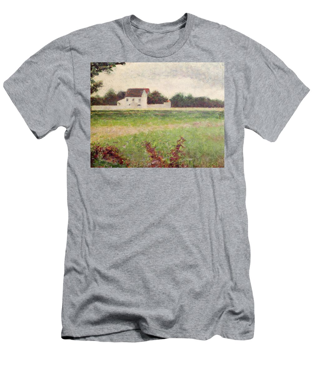 Seurat Men's T-Shirt (Athletic Fit) featuring the painting Landscape In The Ile De France by Georges Pierre Seurat